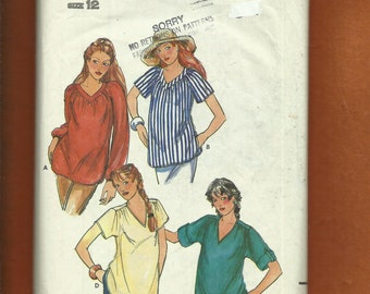 Vintage 1980s Butterick 6982 Maternity Boho Blouses or Tunics with V Necklines & Sleeve Options  Size 12