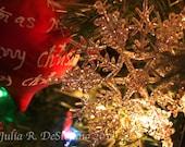 Holiday, Christmas, Tree, Lights, Snowflake, Ornament, Winter, Photograph, Home Decor, 15% off