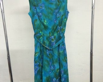 Blue green summer 50s dress sleeveless