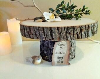 "TREASURY ITEM  -  11"" Rustic wedding cake stand - Personalized cake stand -  Rustic cake stand - Wood cake stand -  Rustic wedding"