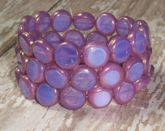 Lavender Coin Bead 10mm Czech Glass Milky Opal Purple LUMINOUS (10)