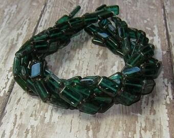Green Rectangle Bead 12x8mm Czech Glass Emerald Picasso LIMERICK (10)