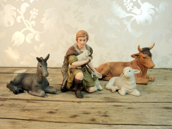 Nativity Figures Shepard And Animals Sheep Cow Donkey