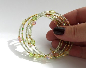 Green & Melon Bangle - Glass Beaded Gold Bracelet - Lime, Peach, Gold Memory Wire Wrap