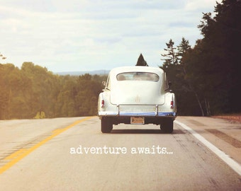 Retro Car Photo, Travel Photography, Adventure Awaits Typography, Wanderlust Print, Vintage Dorm Livingroom Office Work Home Decor Wall Art
