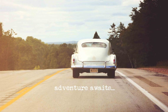 Retro Car Photo, Travel Photography, Adventure Awaits Typography, Wanderlust Print, Vintage Dorm Livingroom Office Work Home Decor Wall Art