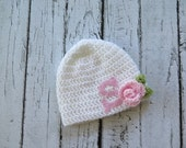Monogrammed Baby Hat | Crocheted Girl Hat with Felt Initial. - sizes Newborn to Teen