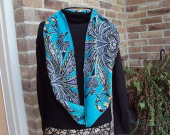 Infinity scarf, turquoise and black print