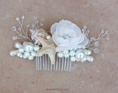 Beach Wedding Comb. Seashell Starfish Pearls Crystals & Flower Hair Comb