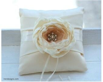 Ring Pillow. Ivory Ring Pillow. Handmade Wedding Ring Pillow With Fabric Handmade Flower
