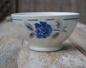 Vintage French Kitchen Bowl - Antique Cafe au Lait bowl - Country French decor - Blue and White Faience Bowl