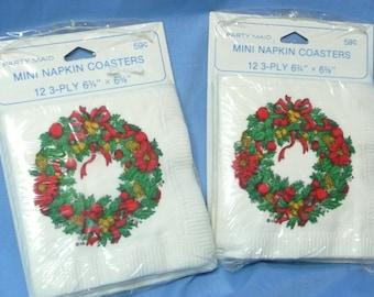 Vintage Christmas Wreath Mini Napkins/Coasters