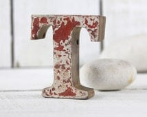Beach Decor Wooden letter T Vintage Style Nautical by SEASTYLE