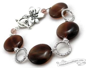 Brown Agate Bracelet, birthstone bracelet, brown bracelet, gemstone bracelet, flower bracelet, coin bracelet, chunky bracelet, gift for her