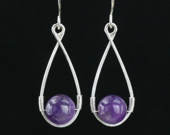 Sterling silver  amethyst teardrop dangling earrings Bridesmaid gifts Free US Shipping handmade Anni designs