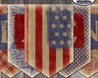 Fourth of July - Independence Day - Bunting Banner - Backyard BBQ Banner  -  Printable (July 4th, America, Vintage. Patriotic)