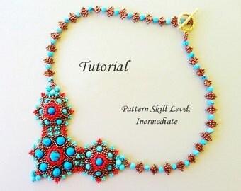 AMADOUE beaded necklace beading tutorial beadweaving pattern seed bead beadwork jewelry beadweaving tutorials beading pattern instructions