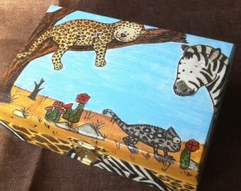 Decoupaged Wooden Box for Boys/for Girls Wild Africa MADE TO ORDER