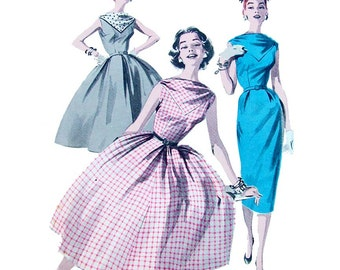 1950s Style Bateau Neck Sleeveless Dress with Full Skirt Custom Made in Your Size From a Vintage Pattern