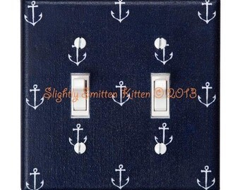 Anchor Double Nautical Light Switch Plate / Nursery Decor / Boys Girls Room / Out to Sea Navy Blue Michael Miller