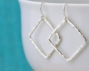 Sterling Silver Square Earrings - Dangle Earrings - Silver Earrings - Hammered Jewelry - Open Square Earrings - Metalwork Jewelry