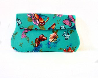 Butterfly Clutch Turquoise, casual clutch, summer clutch