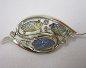 Vintage Signed Emmons Brooch Art Glass Pinecones Holiday