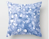 Velveteen Pillow  Cover, Pastel Blue Bokeh Blue White Abstract Photo, Bedroom Nursery Decor Colorful Style Living Room Decor
