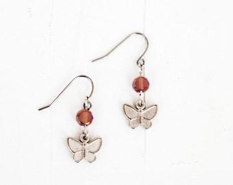 Butterfly Earrings, Beaded Pink Earrings, Pink Romantic Earrings, Dangle Earrings