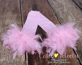 READY TO SHIP: Leg Warmers - Light Pink Feather - Frilly Flamingo - Pink Flamingo Bird Costume Accessory - One Size - Cutie Patootie Designz