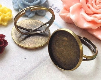 18 mm Antique Bronze Adjustable Ring Findings (fit for 16 mm buttons) (.nu)