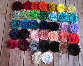 Set of 12 Chiffon Hair Flowers Clips - You Pick from 37 Colors