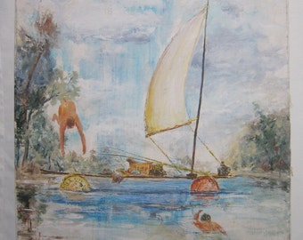 Oil Painting Swimmers, E R Shepard