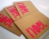 "Kraft Christmas ""noel"" Greeting Card Set of 4 with Envelopes"