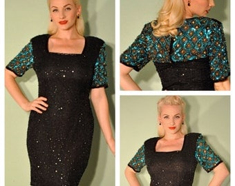 Vintage Beaded Dress Black Blue and Gold Fully Embellished Burlesque Gown Great for Costume Parties Weddings