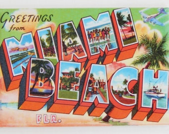 Greetings from Miami Beach Fridge Magnet (2 x 3 inches)
