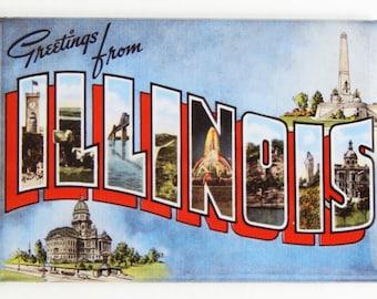 Greetings from Illinois Fridge Magnet