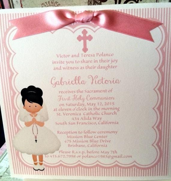 Bien connu Imprimé de première Communion fille rose Invitation avec DN05