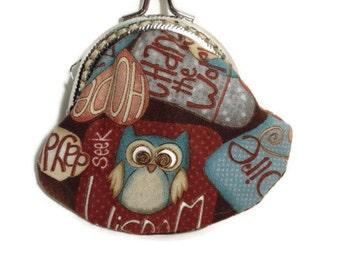 Owl Coin Purse Small, Rustic Owl Coin Purse, Small Change Purse, Snap Closure Purse