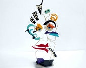 Colorful polymer clay and wire sculpture - OOAK