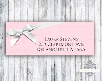 Return Address Labels - Set of 60 - Pink Ribboned