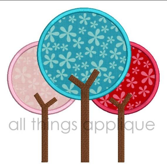 Tree Trio Applique Design - 4 Sizes - Instant Download