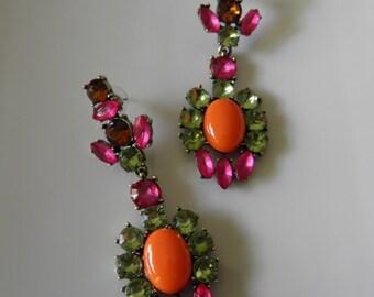 Very Trendy Drop Rhinestone Dangle Earrings