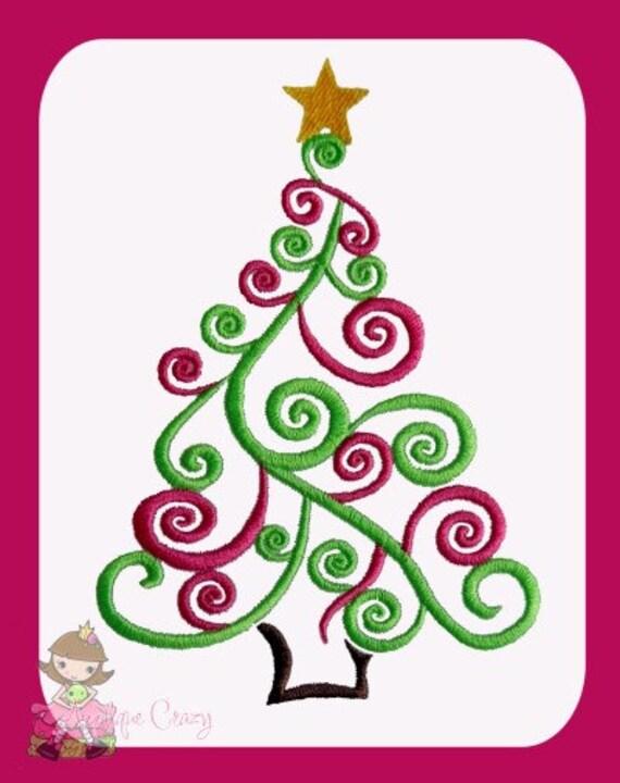 Swirly Christmas tree  Embroidery design