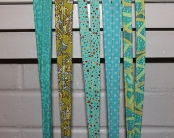 Colorful Fabric Lanyard - Multiple Options - ID Badge - Teacher Lanyard - Greens and Blues, Polka Dots, Green Melon, Turquoise Cheetah