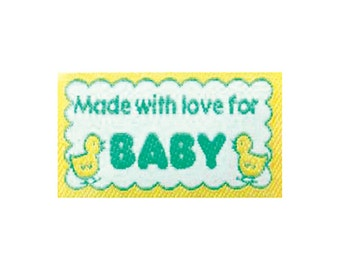 Sewing Labels, NON CUSTOMIZABLE Sewing Labels Quilting Labels Made with love for Baby BL-LL2555