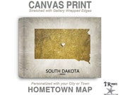 South Dakota Map Stretched Canvas Print - Home Is Where The Heart Is Love Map - Original Personalized Map Print on Canvas