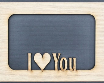 Valentine's Day I Love You Couples Custom Wood Picture Photo Mat Insert for 5x7 frame