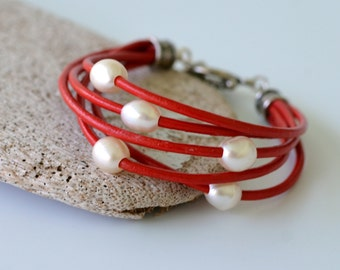 Leather and Pearl Bracelet, Red Leather and 5 Freshwater Pearls, Gift Boxed