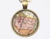 Customizable Washington Map Necklace - Vintage Map of Washington-Vintage Map Series
